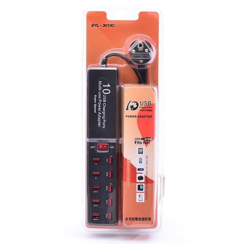 Elektirik Prizli 10 Port USB Şarj Adaptörü