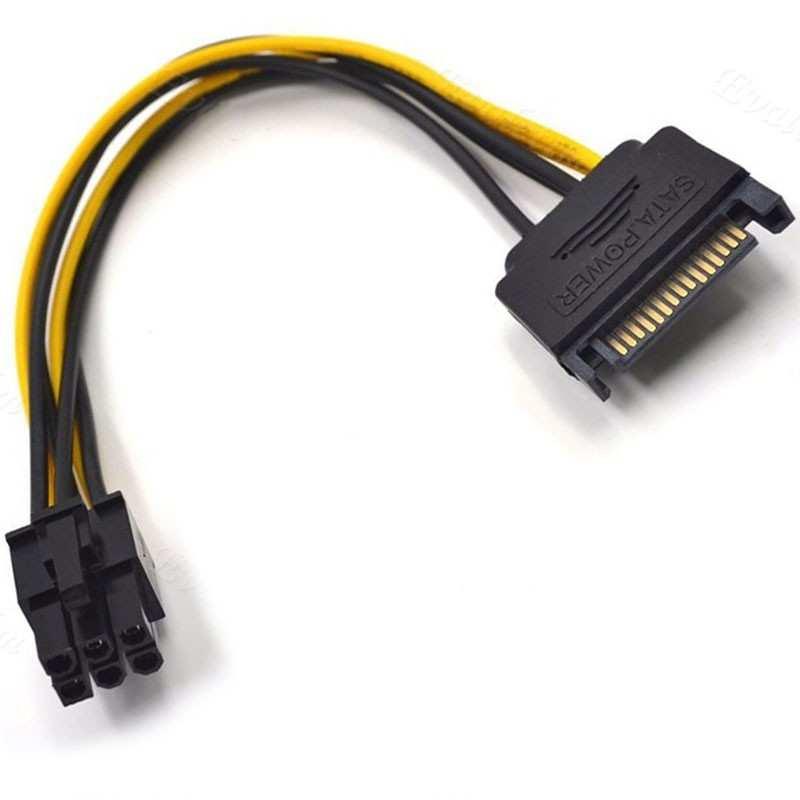 15 Pin SATA erkek 6 Pin Dişi PCI-E Ekran Kartı Güç Kablosu