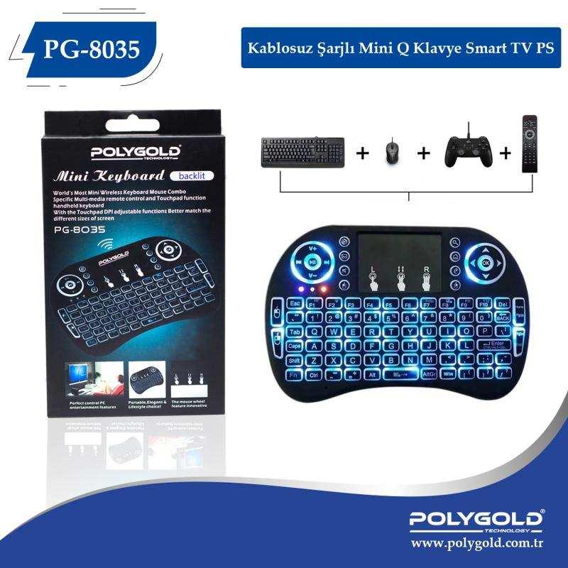 Polygold PG-8035 Wireless TV Klavye + Touch Pad