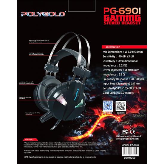 PG-6901 GAME OYUNCU KULAKLIK RGB 7,1 LEDLİ